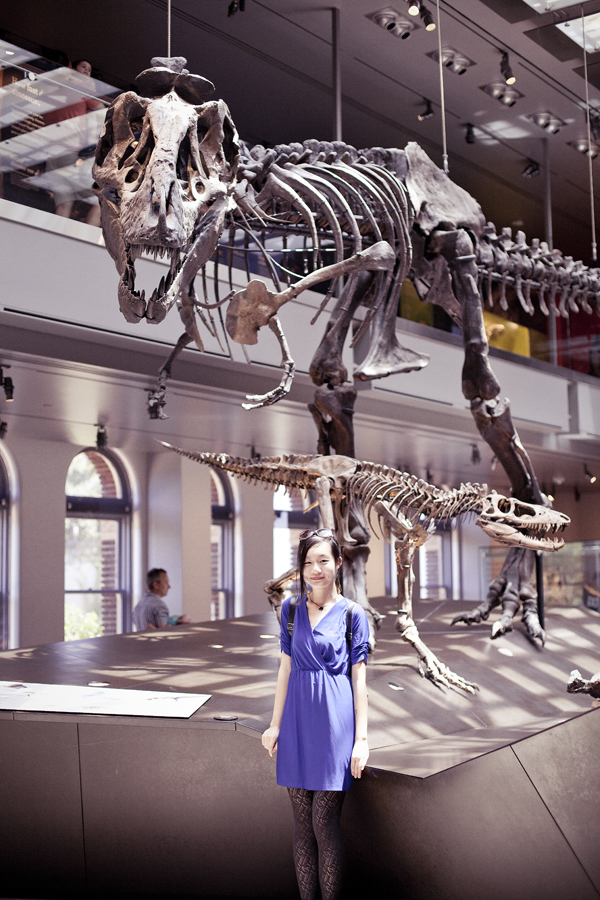 Ren at the dinosaur exhibit at the Natural History Museum in Los Angeles.