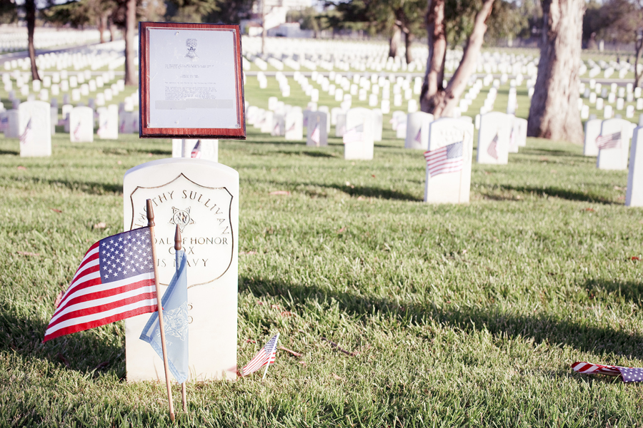 Decorated marker at the Los Angeles National Cemetery.