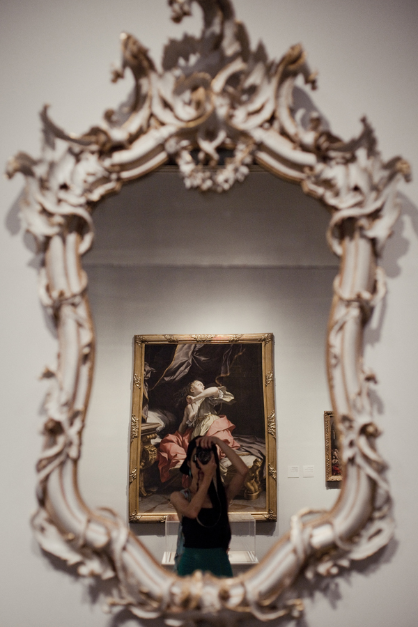 Self-portrait in front of a mirror made in Italy in 1760 at LACMA.