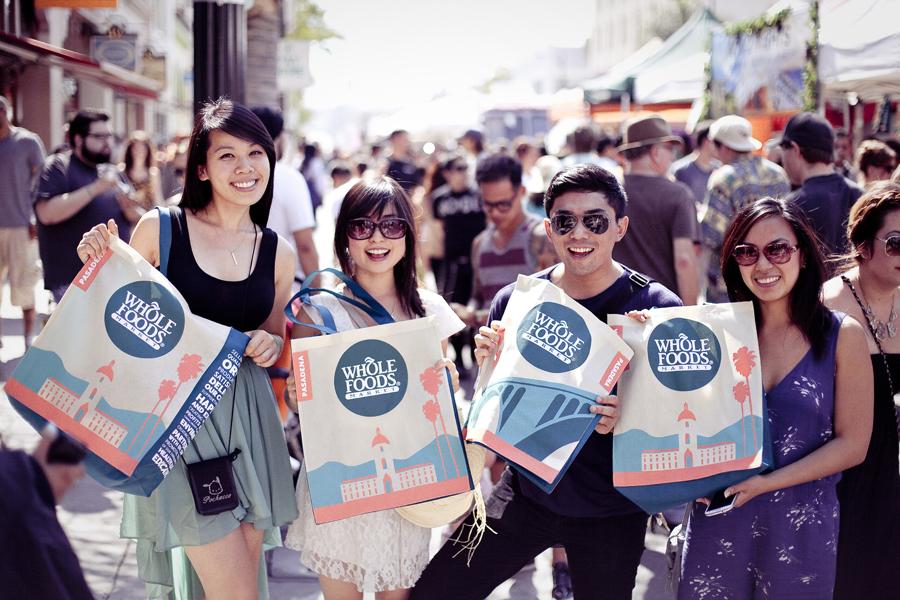 Free Whole Foods cloth grocery bag at Make Music Pasadena.