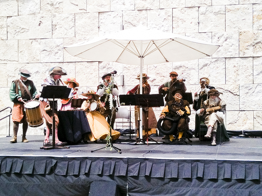 Renaissance performance on stage at the Getty Center.
