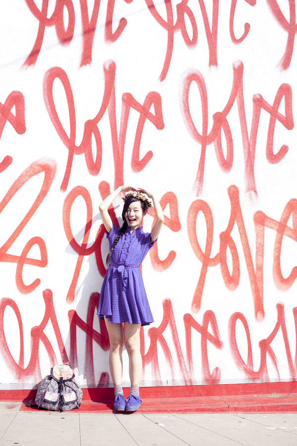 Ren in front of the 'Love' wall by Smashbox Studios in Culver City.