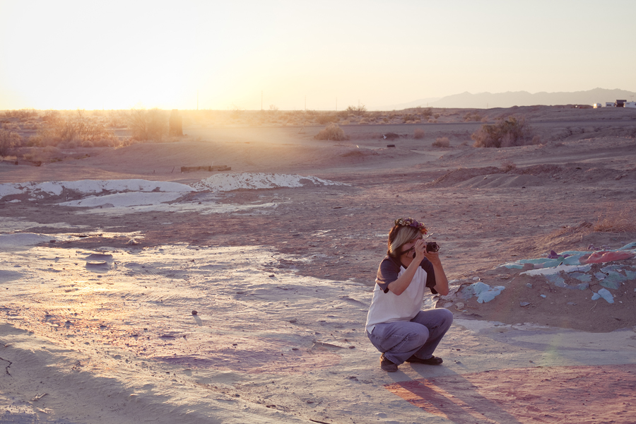 Shamis photographing Salvation Mountain as the sun set.