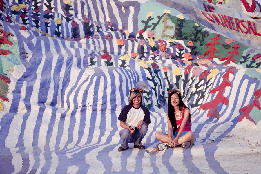 Shamis and Ren at Salvation Mountain.