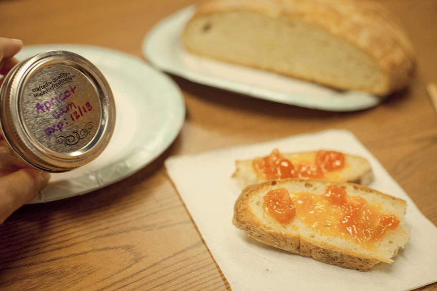 Homemade apricot jam.