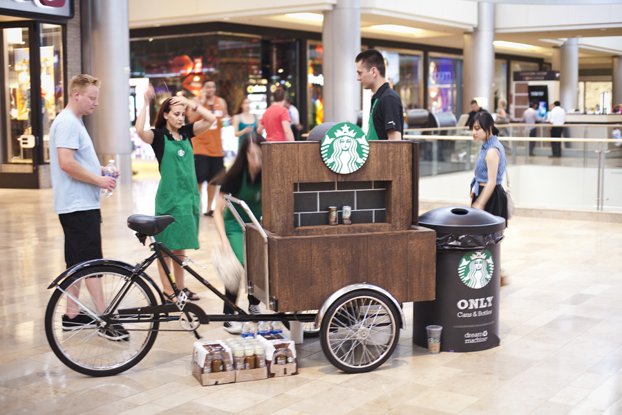 Starbucks cart giving away free bottles of coffee in Las Vegas.