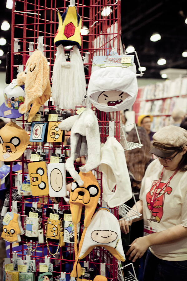 Adventure Time merchandise and props at Anime Expo 2013.