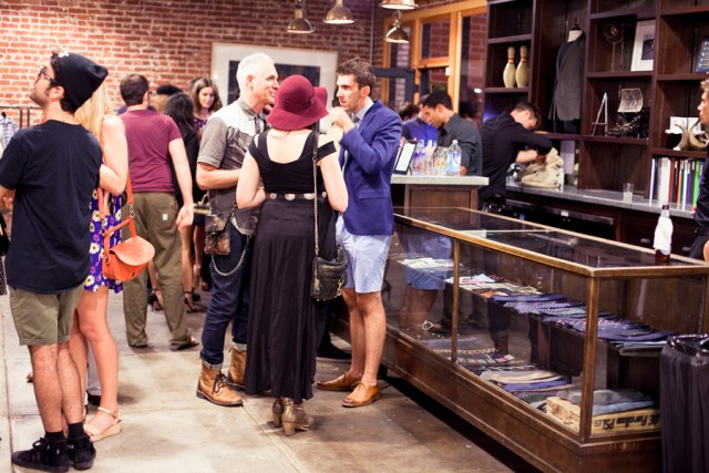 Stylish people mingling at the Lookbook x Rebecca Minkoff Denim Launch Party at the Confederacy Boutique in Hollywood, Los Angeles.