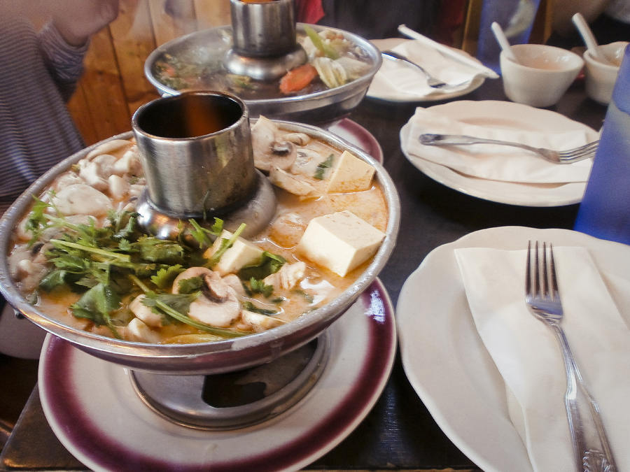 Tofu and mushroom vegetarian Tom Kha soup pot at Cholada Thai Cuisine by Malibu beach.