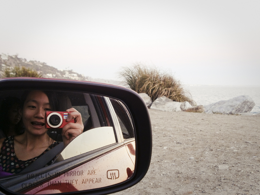 A picture of myself via mirror while cruising down Malibu beach.