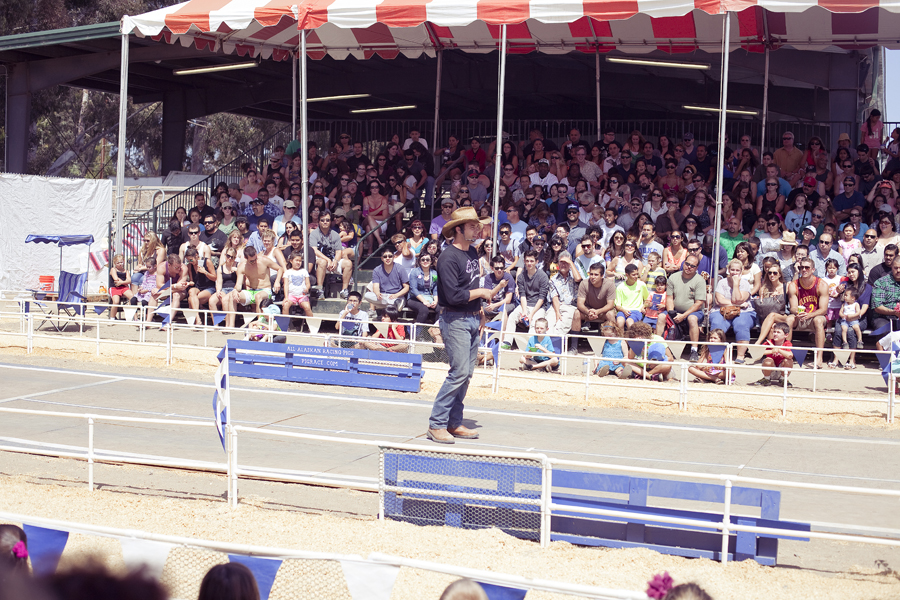 Pig racing arena at the Orange County Fair.