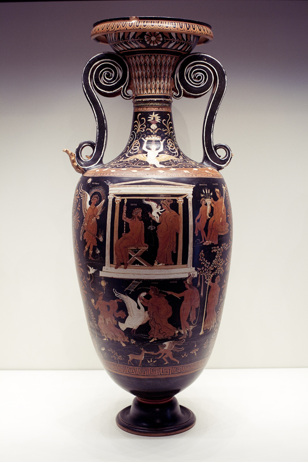 Vessel with Leda and the Swan on display at the Getty Villa.