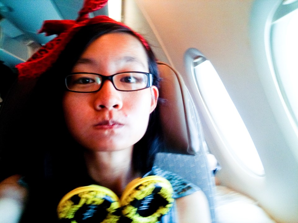 Selfie on the Singapore Airline plane from USA to Singapore.