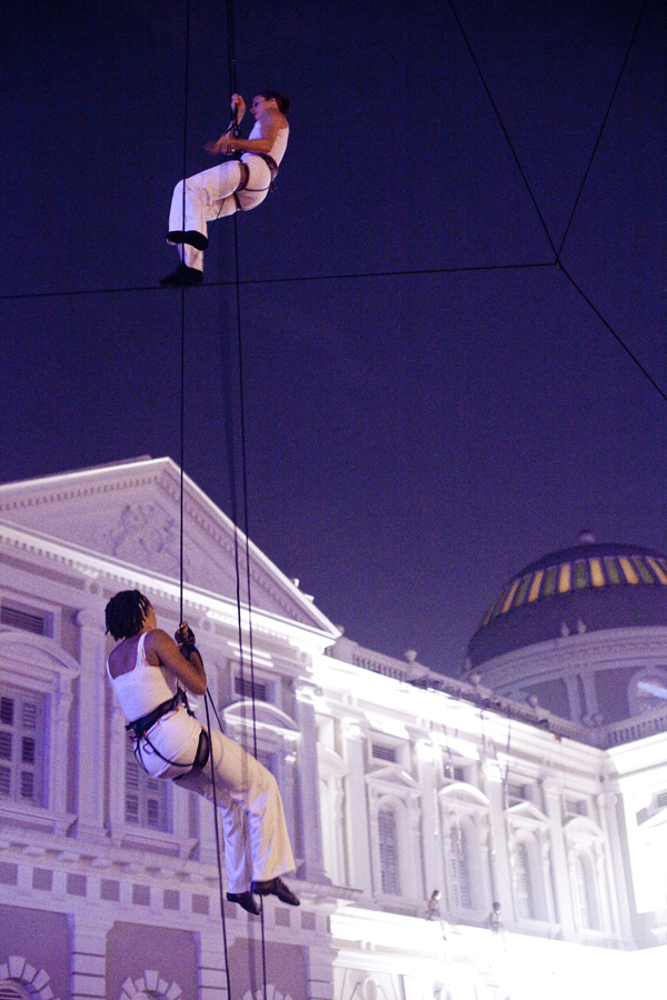 Night Fest Aerial performance outside the Singapore National Museum.