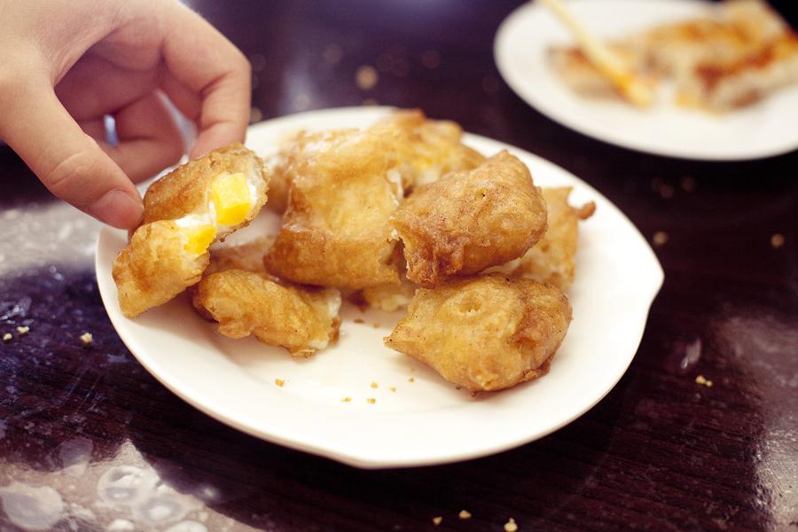 Fried shrimp mango dumplings at Vegetarian Restaurant.