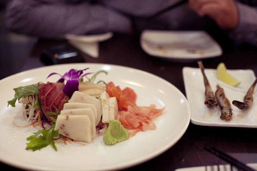 Sashimi and Shishamo at Sushi Xchange.