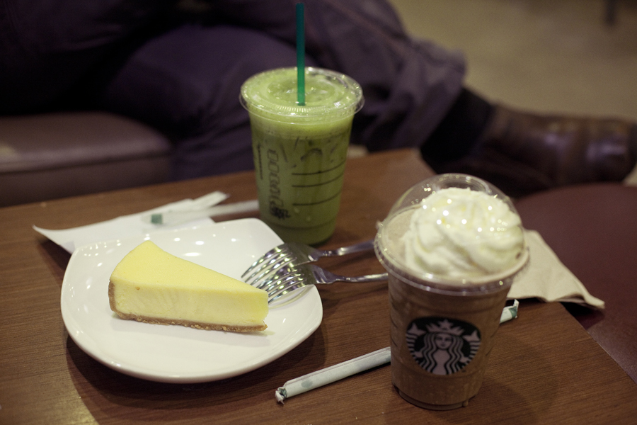Cheesecake, green tea frappucino, hojicha frappucino at Starbucks.