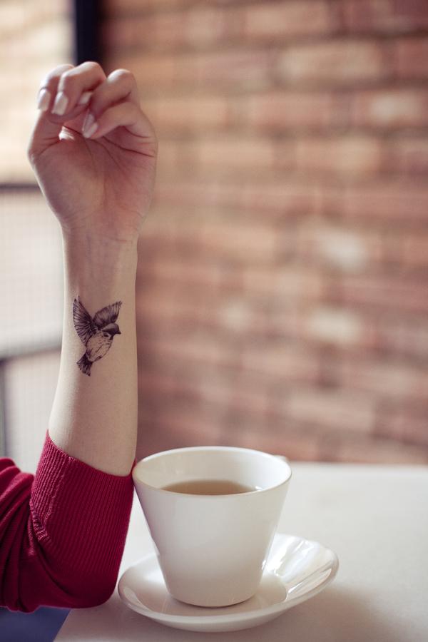 Ade's avian temporary tattoo.