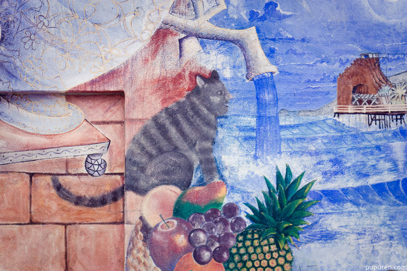 Mural of a weird cat in Venice beach, Los Angeles.