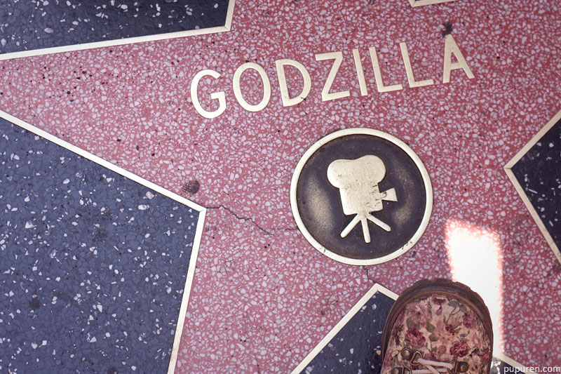 Godzilla star at Hollywood Star Walk in Los Angeles.