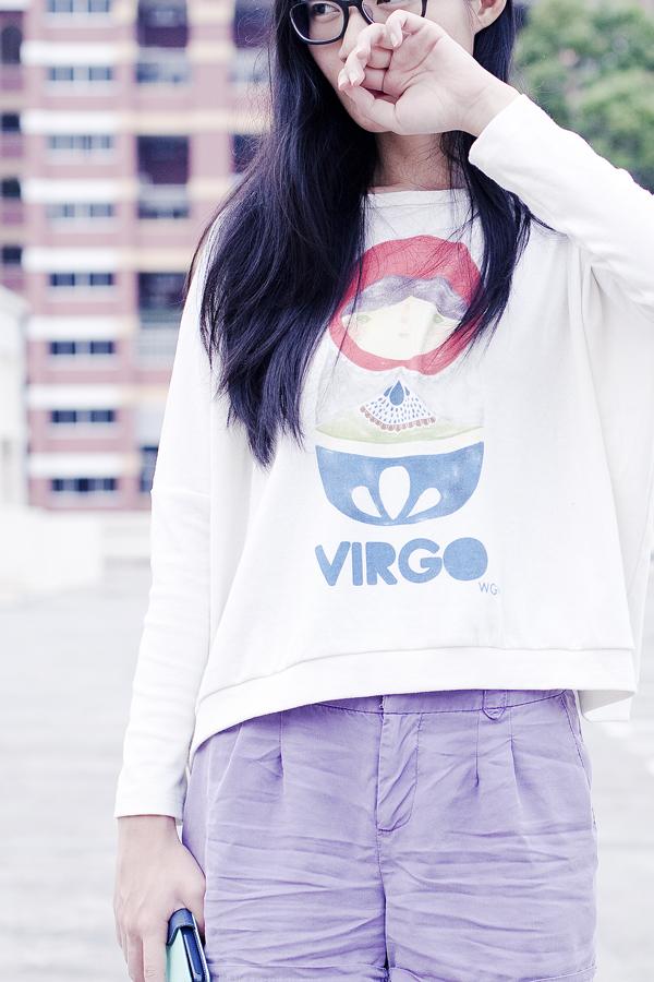 Childhood 'virgo' oversized bat-sleeved sweater and purple Forever 21 shorts.