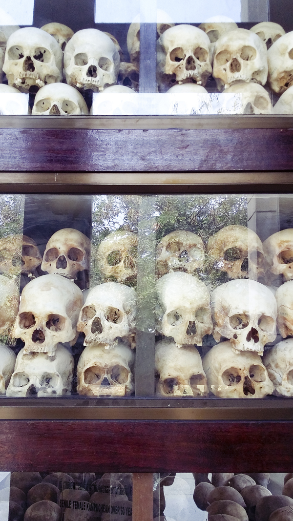 Skulls of the victims at the stupa at Choeung Ek Killing Fields in Phnom Penh, Cambodia.