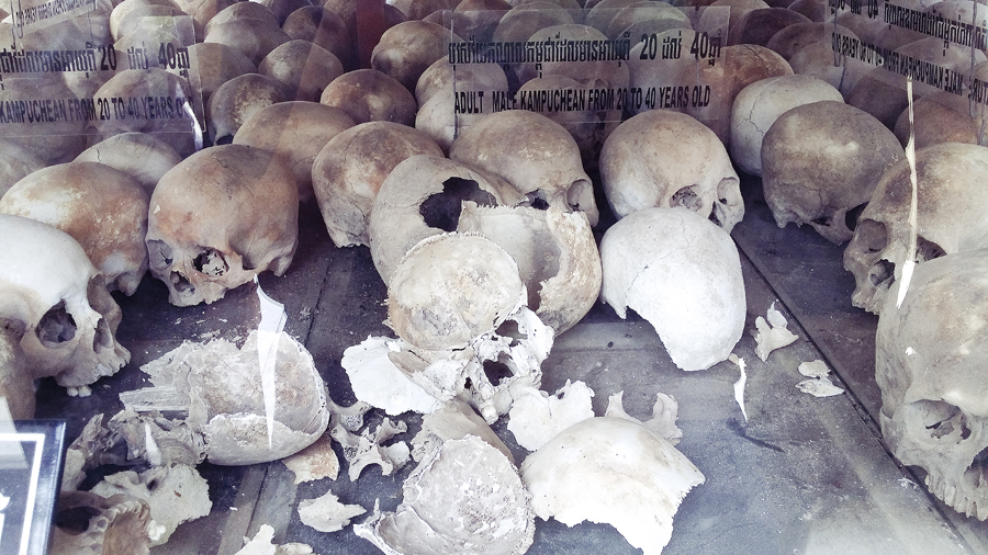 Skull fragments at the Choeung Ek Killing Fields in Phnom Penh, Cambodia.