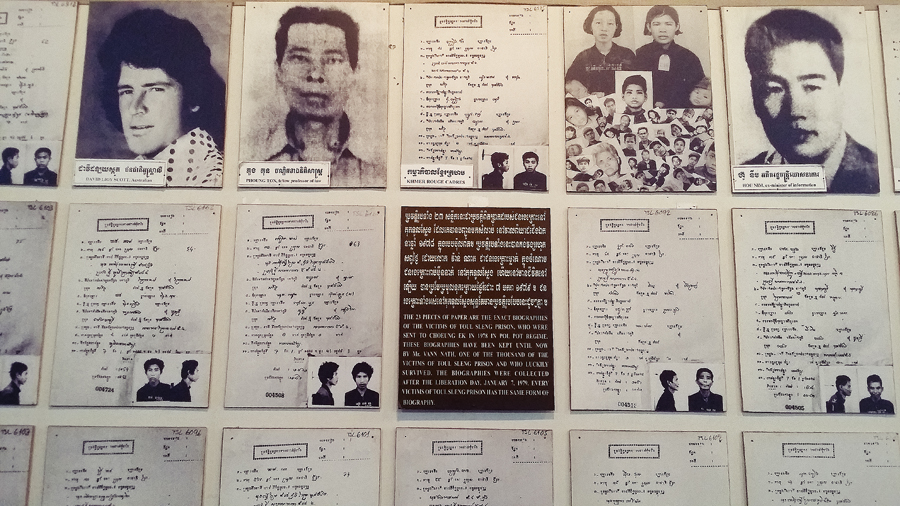 Biographies of the victims at the Choeung Ek Killing Fields in Phnom Penh, Cambodia.