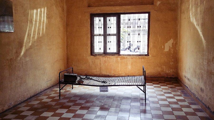 Bed frame at Tuol Sleng (S21) in Phnom Penh, Cambodia.