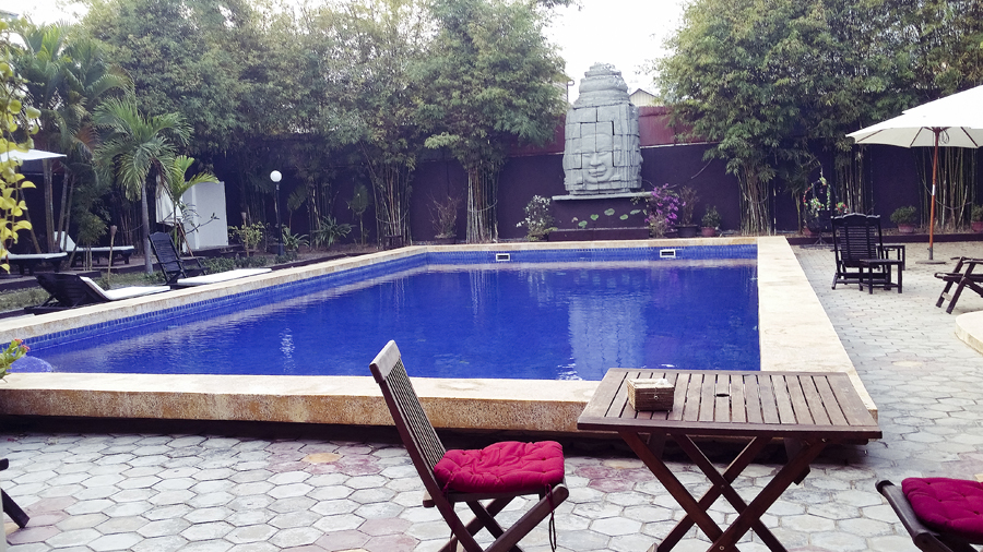 Swimming pool at the Lotus Lodge, Siem Reap, Cambodia.