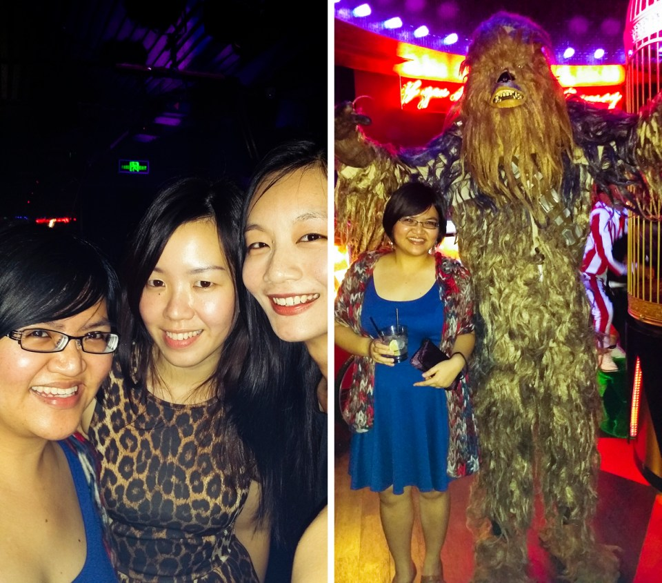 Selfie and Puey with Chewbacca costume at Cirque le Soir nightclub in Shanghai.