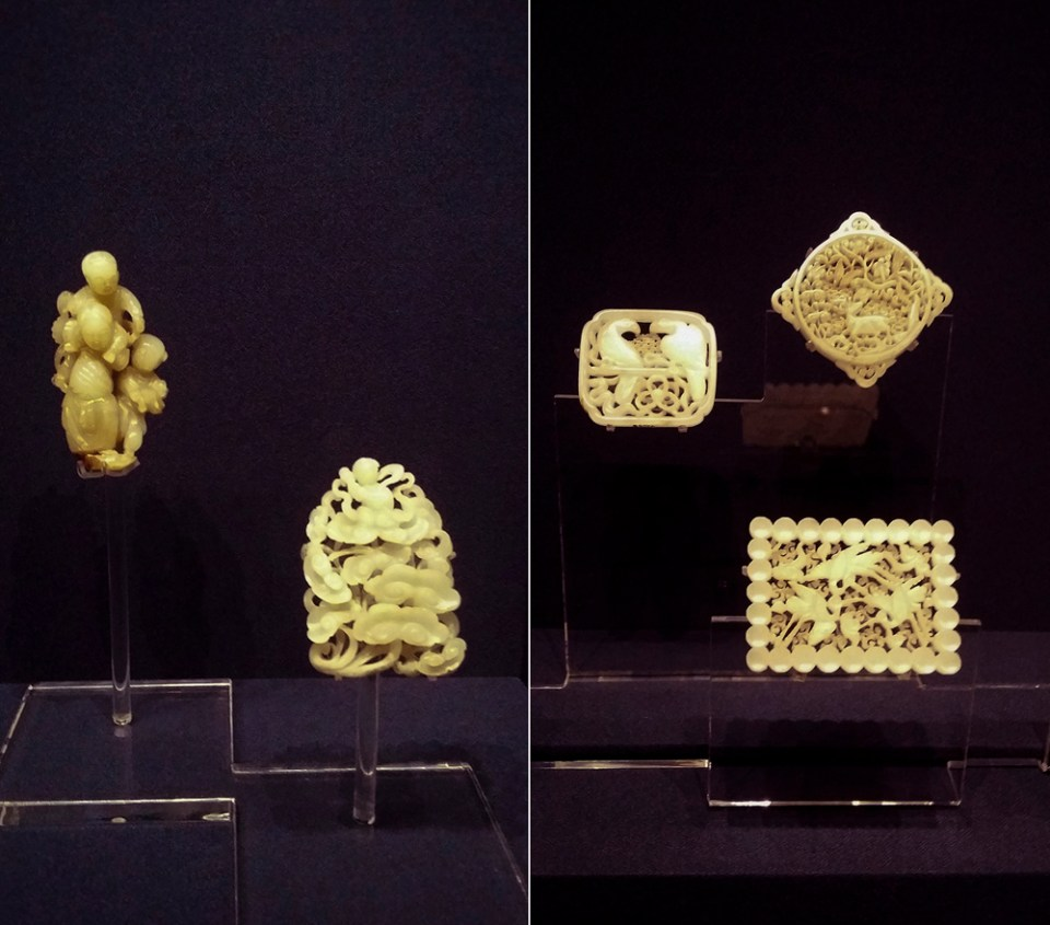 Left: Three boys and Boy holding Lingzhi (fungus) in hand from the Ming Dynasty (1368-1644 AD). Right: Square plaque with serpent design, ornament with two parrots, ornament with deer design from the Ming Dynasty (1368-1644 AD) at the Shanghai Museum.