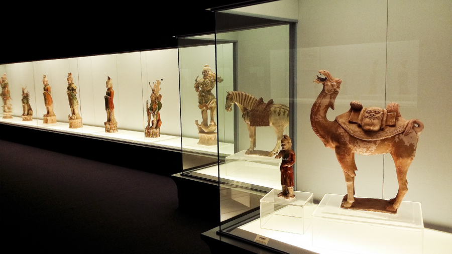 Polychrome pottery sculptures at the Shanghai Museum.