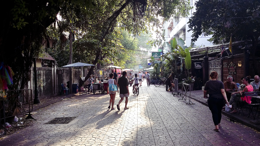 Tourist alley in Bangkok, Thailand.