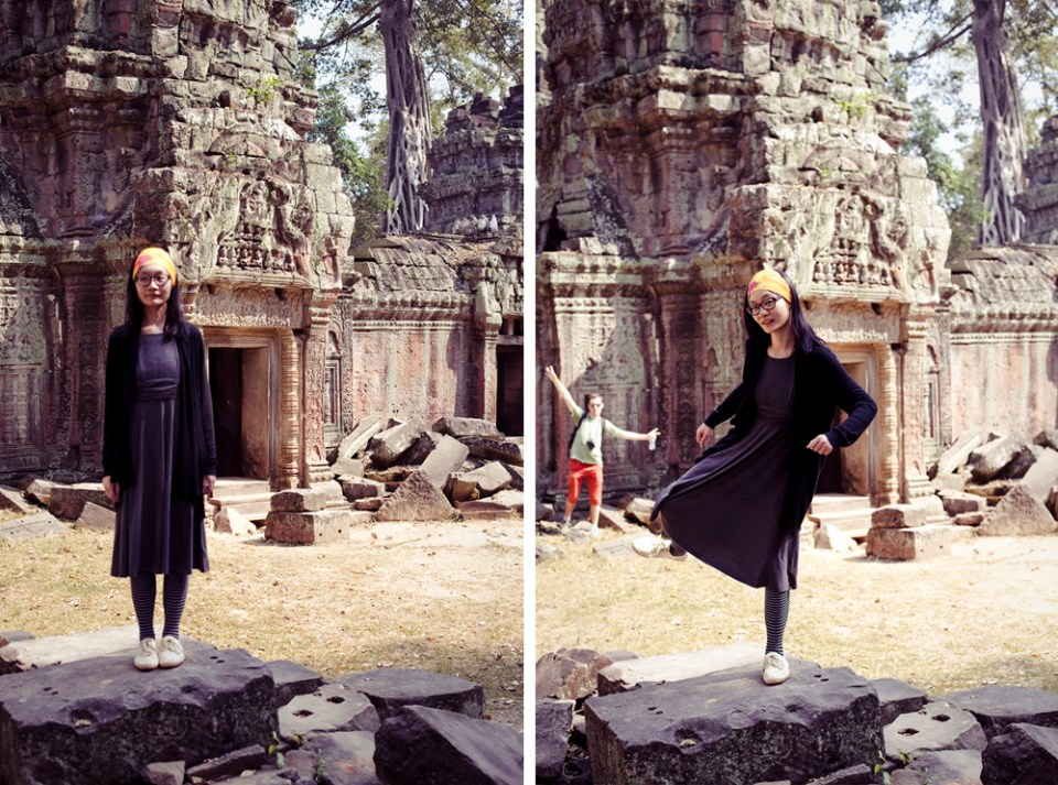 Ren at Ta Prohm on day 2, with Ant photobombing in the second picture.