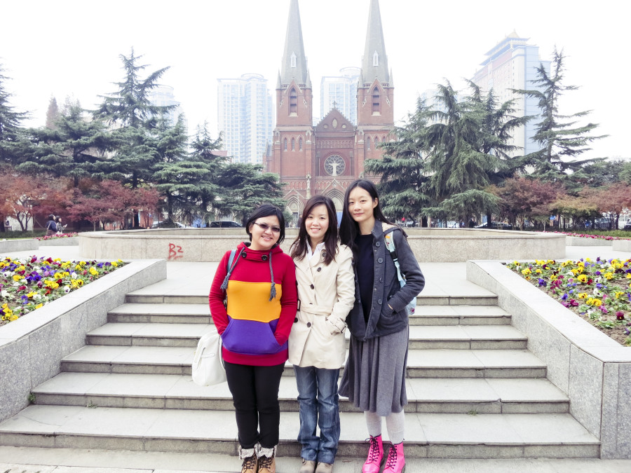 Puey, Ade, and Ren standing in front of St. Ignatius Cathedral, Shanghai. Photo from Ade.