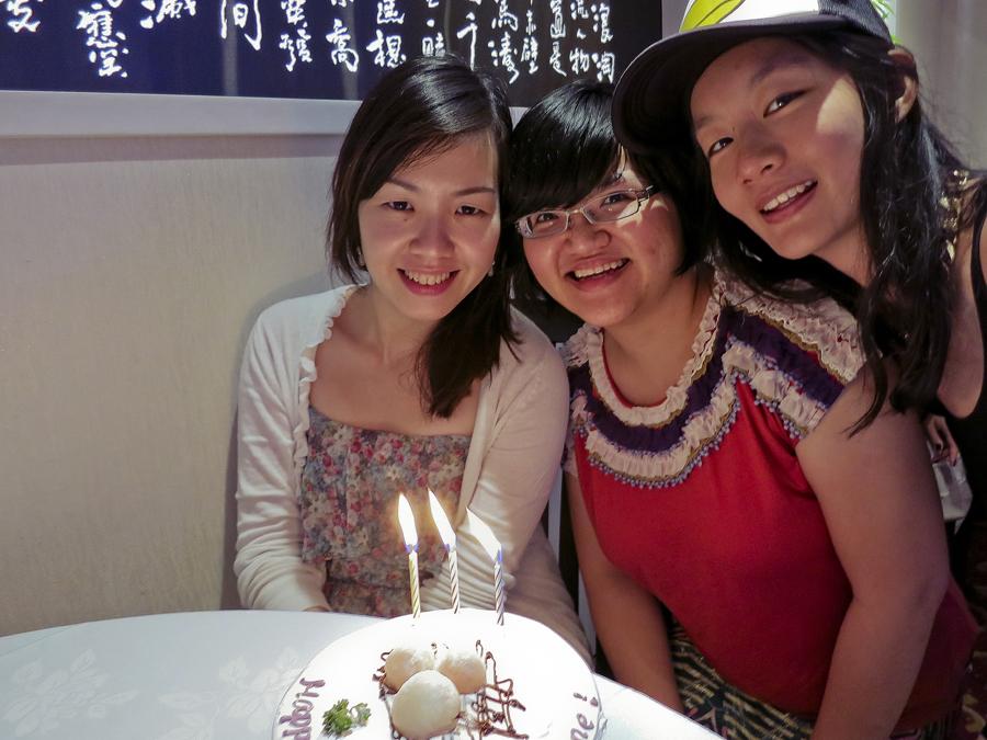 Ade, Puey and Ren with birthday cake from Pine Garden's Cake at East Ocean Teochew Restaurant.