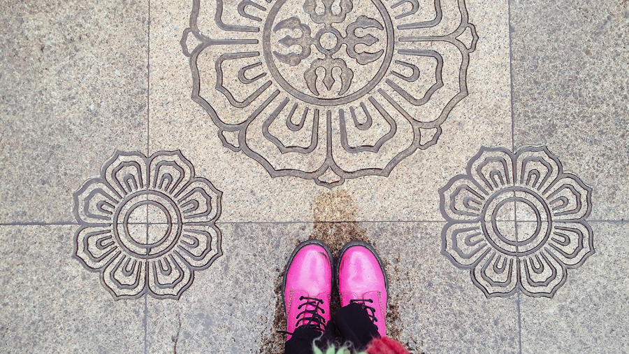 Patterned floor at the Jing'an temple in Shanghai.