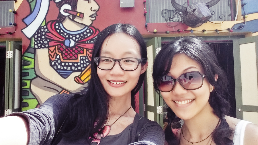 Selfie against the colourful murals of Haji Lane.