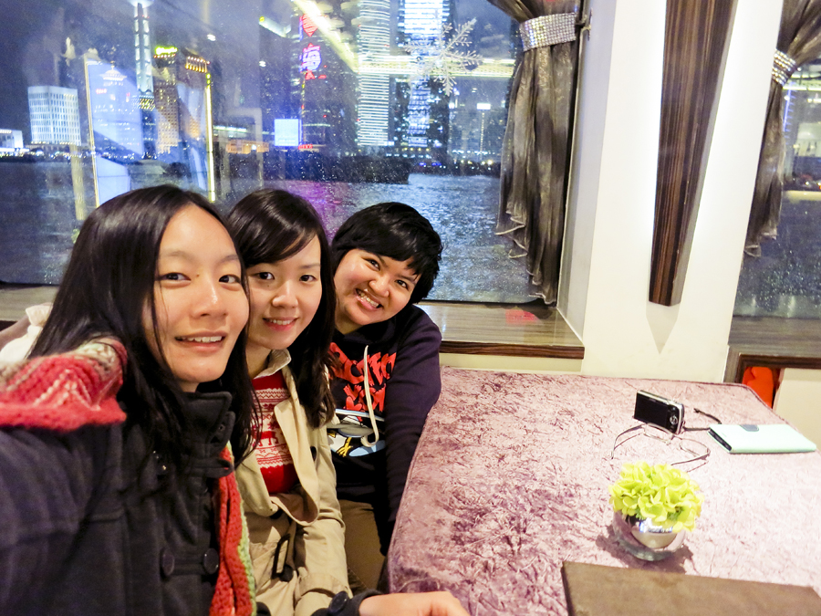 Photo of Ren, Ade, and Puey in the Jade ferry on the Bund, Shanghai. Photo from Ade.