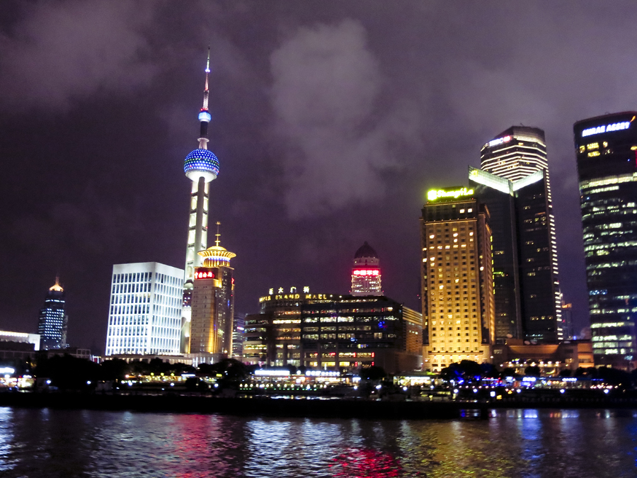 Shanghai skyline at night at the Bund. Photo by Ade.
