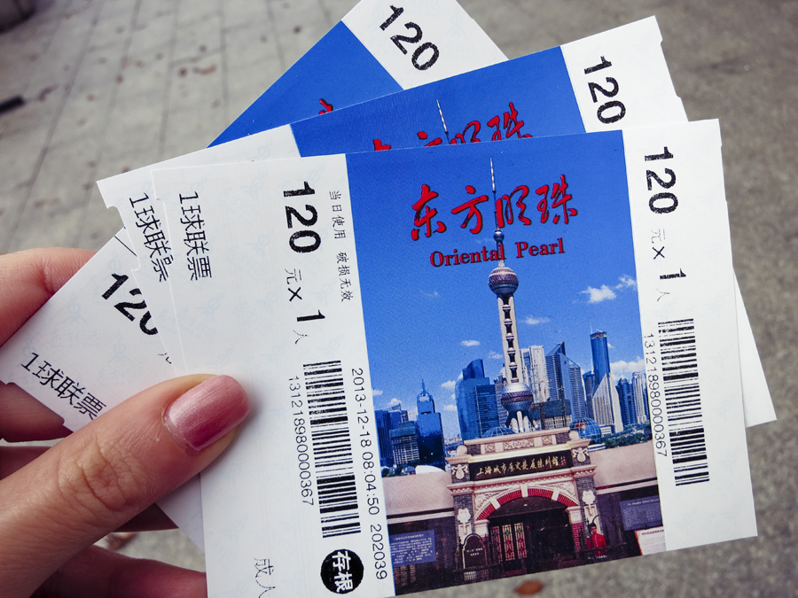 Tickets to the Oriental Pearl, Shanghai. Photo by Ade.
