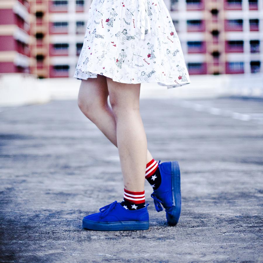 Ebase white printed skirt, Ggorangnae united states flag socks from Korea, H&M blue platform lace-ups.