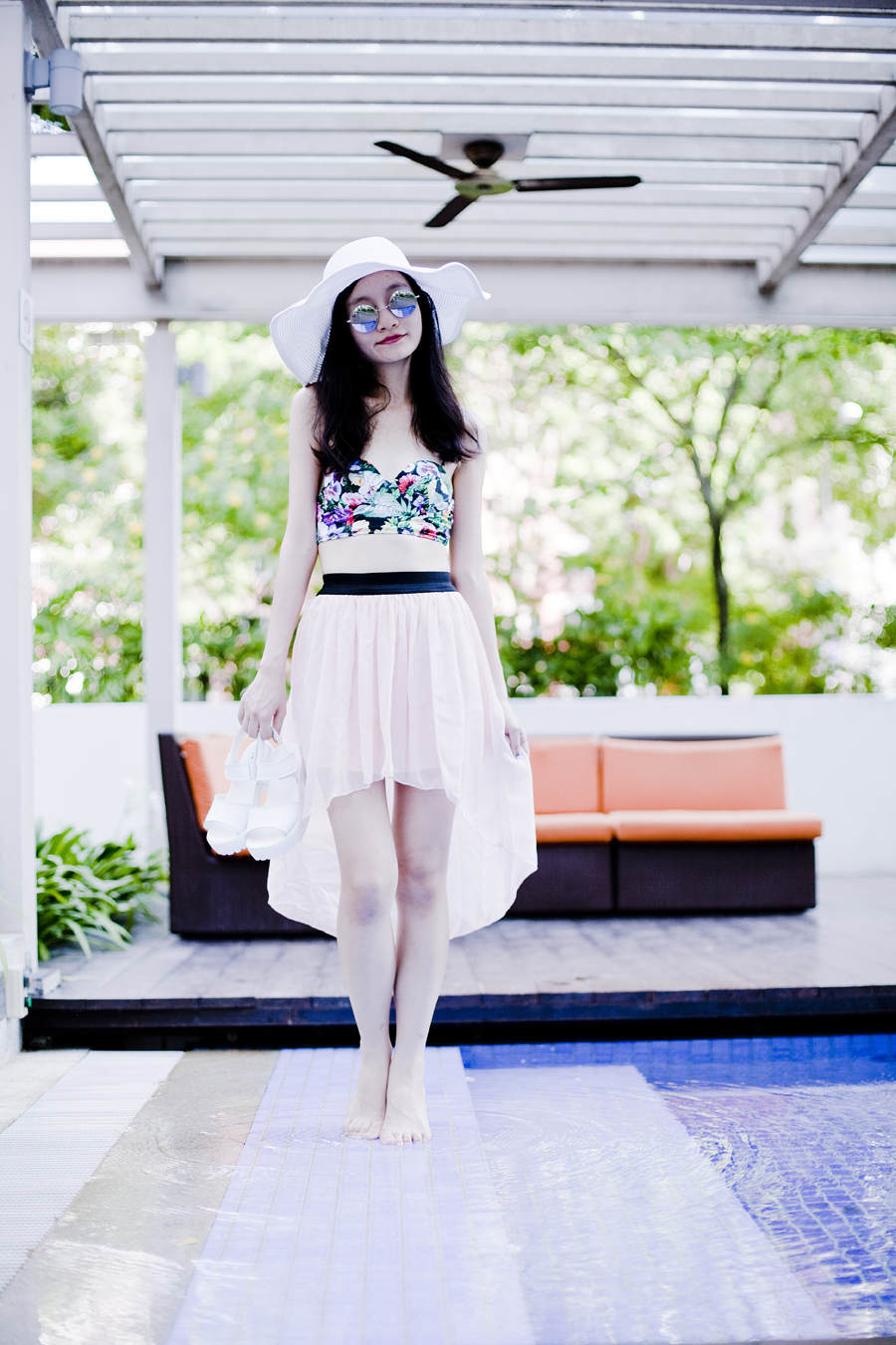 Outfit details: Choies Opal Halterneck Bikini in Cottage Garden Floral Print swimsuit, Silver mirror sunglasses from Taobao, White wide brim beach hat from Taobao, White platform sandals from Taobao, Light pink high-low skirt from Korea.