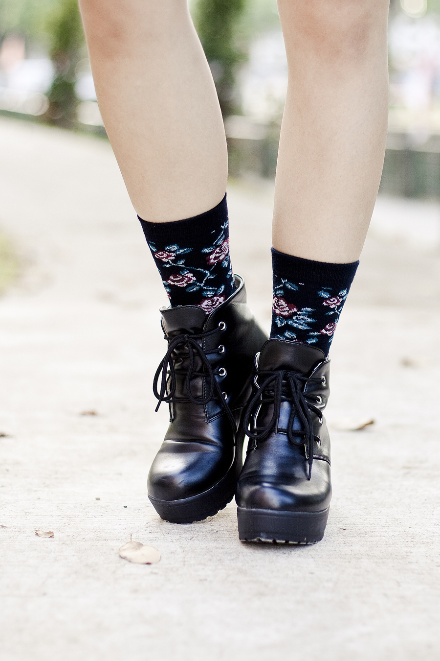 Black floral socks from Taobao, black platform shoes from Taobao.