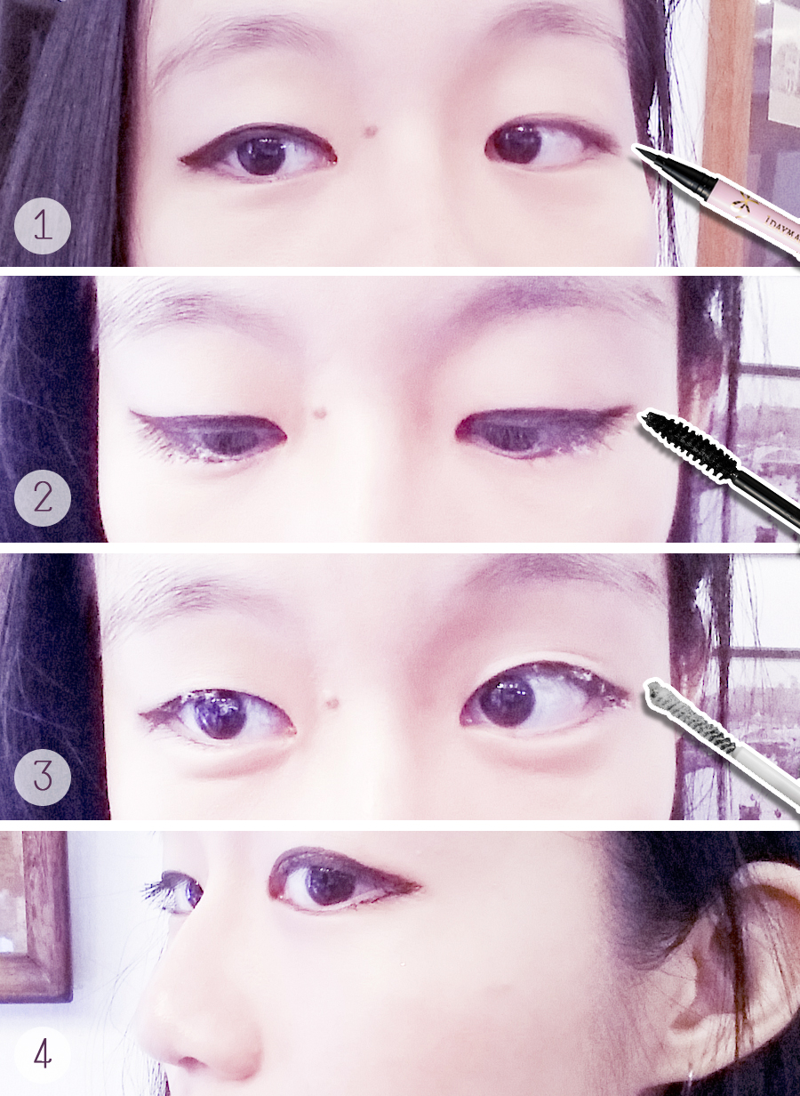 Step-by-step putting on K-Palette 1 day magic eyeliner and 1 day magic mascara.