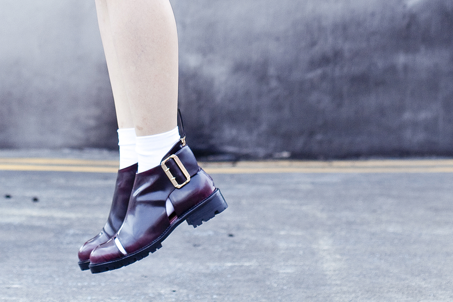 Jeffrey Campbell Flamel Open Buckle Booties in Wine.