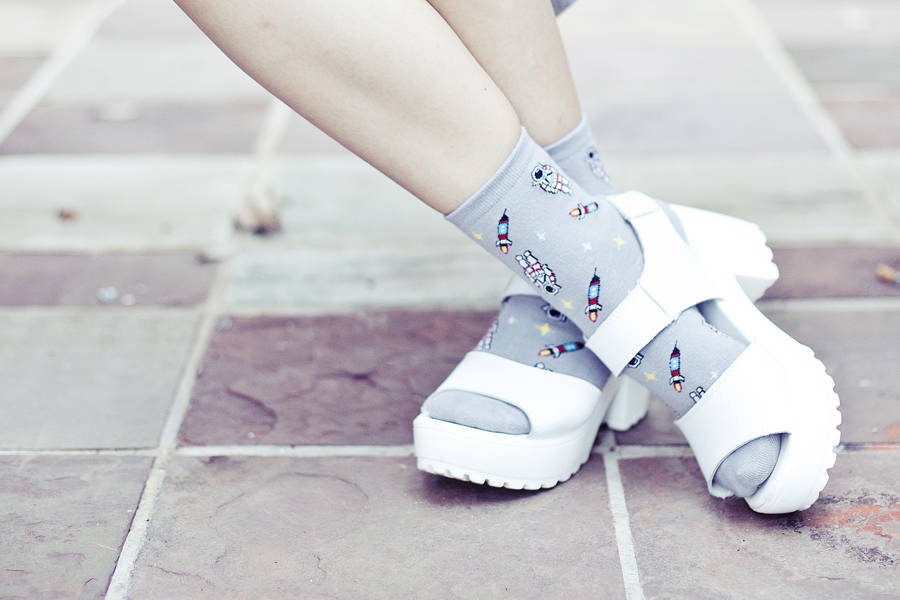 Outfit of the day featuring grey spacemen Taobao socks, Taobao white platform sandals.