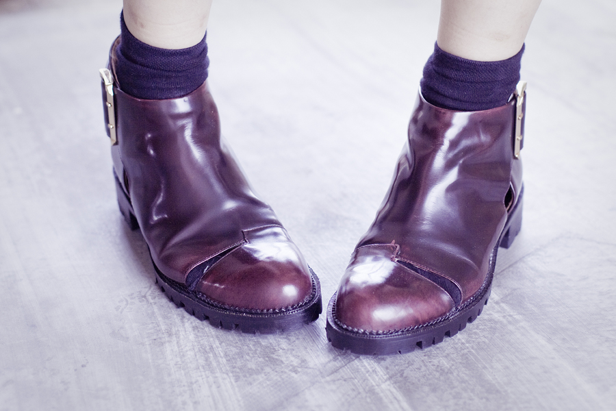 Jeffrey Campbell cutout booties in wine.