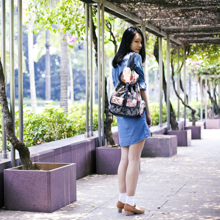 Japanese makeover outfit: Long sleeve denim dress from Uniqlo, white socks from Taobao, brown mary jane heels from Mixit, black geometric backpack from T-shirt & Jeans, crystal necklace from Swarovski, earrings from Osewaya c/o JRunway, haircut c/o Shunji Matsuo, eyeliner c/o K-Palette.